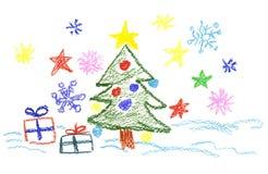 New-Year tree decorations. Child painter stock illustration