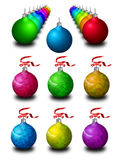 New year tree decorations. Spectral rows of colored new year tree decorations and isolated decorations on white background Stock Photos