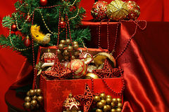 New Year tree decorations glasses Royalty Free Stock Photos