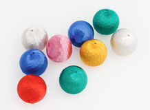 New-Year tree decorations multicolored balls. Isolated on white royalty free stock images