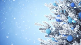 New Year tree, falling snow. New Year tree with falling snowflakes stock footage