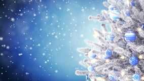 New Year tree with falling snowflakes stock video footage