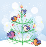 New Year tree with funny birds Royalty Free Stock Photography