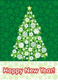 New Year tree on a green background. New Year tree with an inscription on a green background Royalty Free Stock Photography