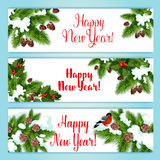 New Year tree and holly berry banners Royalty Free Stock Photos