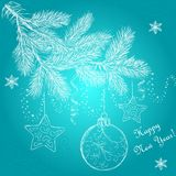 New Year tree Сhristmas ball stars snowflakes. Card graphics christmas fir ball snowflakes stars Royalty Free Stock Photography