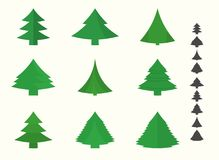 New year tree icons. Set of christmas and new year tree icons Royalty Free Stock Photo