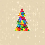 New Year tree from multi-colored triangles Royalty Free Stock Photos