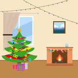 New Year tree near the fireplace. Flat design, vector illustration, vector Royalty Free Stock Image