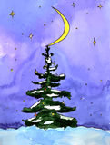 New year tree in the night forest - watercolor painting. New year tree is decorated by the big moon in the night forest - magic watercolor postcard stock illustration