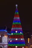 New year tree at night in Kyiv Stock Image