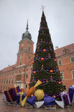 New Year tree at Old Town Square near Royal Castle. Warsaw Royalty Free Stock Image