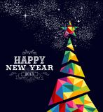 New year 2015 tree poster design. Happy new year 2015 greeting card or poster design with colorful triangle tree and vintage label illustration. EPS10 vector Stock Images