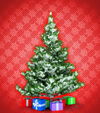 New Year tree with presents over red Stock Images