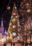 New year tree on the Red square in Moscow. Festive decoration in the town. royalty free stock photography