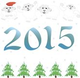 2015 new year, tree, sheep.  illustration. 2015 new year card with white lamb.  illustration Stock Image