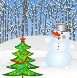 New-year tree and snow man Royalty Free Stock Photos