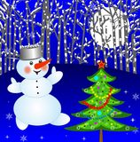 New-year tree and snow man. On a background winter landscape,illustration royalty free illustration