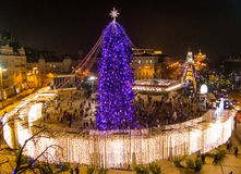 New Year tree on the Sophia Square in Kiev. Top view Royalty Free Stock Photo