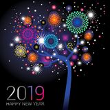 New Year tree with sparkling fireworks on a blue black background. For the new year 2019 royalty free illustration
