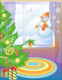 New Year tree with sweets &  Snowball (vector) Stock Photo