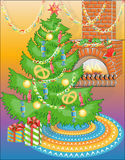 New Year tree with sweets & warm fireplace (vector Stock Photography