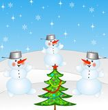 New-year tree and and three snow men. On a background winter landscape,illustration Royalty Free Stock Photography
