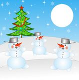 New-year tree and and three snow men. On a background winter landscape,illustration Royalty Free Stock Photos
