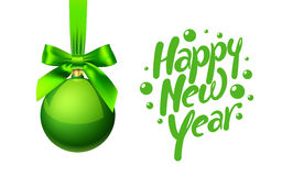 New year tree toy ball with bow weighs. Vector illustration Royalty Free Stock Image