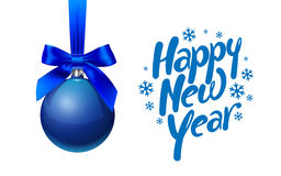 New year tree toy ball with bow weighs Royalty Free Stock Photos