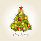 New Year tree with toys. A vector Stock Photography