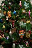 New Year tree toys christmas spruce winter stock photo