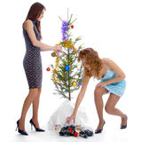 New year tree triming Stock Image