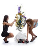 New year tree triming Stock Images