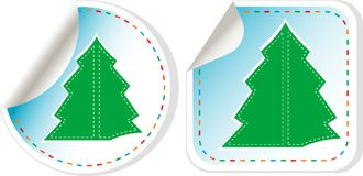 New Year Tree vector stickers set Stock Photo