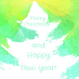 New year tree watercolor silhouette. For card background. Vector illustration Stock Image