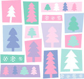 New Year trees. New Year's celebratory background, fur-trees, snowflakes. Can be used as a pattern for a packing paper Stock Photo