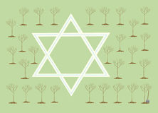 New Year of trees or Tu bi-Shvat. In Israel in Tu bi-shvat (New Year of trees) entered in tradition to seat trees. Children and new repatriates are engaged in Stock Photo
