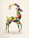 New Year of the triangle Goat 2015 card. New Year of the Goat 2015 colorful geometric shape greeting card Royalty Free Stock Photos