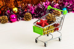 New Year Trolley with Christmas toys Royalty Free Stock Image