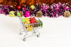 New Year Trolley with Christmas toys Stock Image