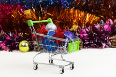 New Year Trolley with Christmas toys Royalty Free Stock Photos
