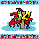 New year 2014. Tsyfry 2014 skating and border attributes of Christmas vector illustration