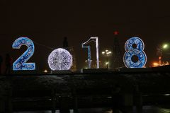 2018 New-Year in Tula, Lenin Square Royalty Free Stock Photos