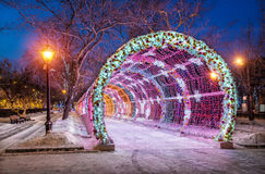 New Year Tverskoy boulevard. And light tunnel in the early winter morning Royalty Free Stock Image