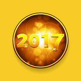 New year Twenty Seventeen border with stars on yellow background. Golden New Year Twenty Seventeen in Numbers with Stars in a Glowing Gold Border Over Yellow Royalty Free Stock Photography