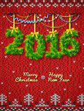 New Year 2016 of twigs as christmas decoration Stock Image