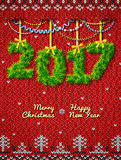 New Year 2017 of twigs as christmas decoration Stock Photography