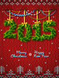 New Year 2015 of twigs like christmas decoration. Christmas congratulation against knitted background. Qualitative vector (EPS-10) illustration for new year's Royalty Free Stock Photo