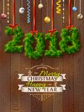 New Year 2018 of twigs like christmas decoration Royalty Free Stock Photography